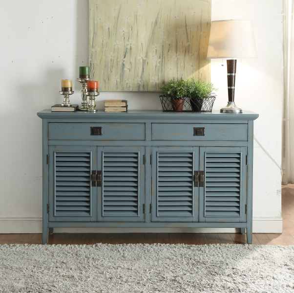 American grey blue shoe bench with three doors