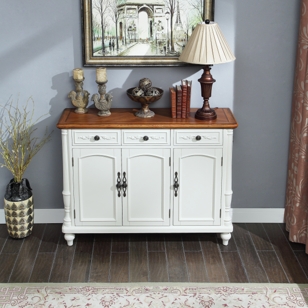 American classic white shoe bench with three doors and three drawers