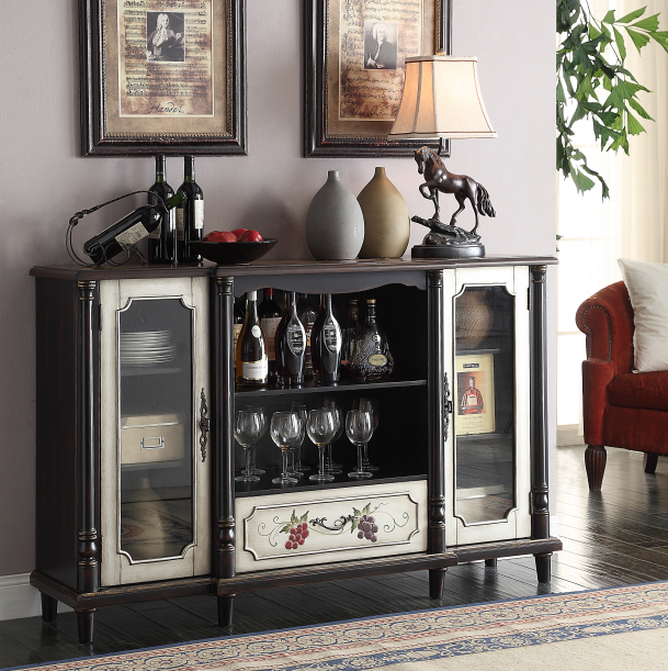 Black wine cabinet with two doors and one drawer
