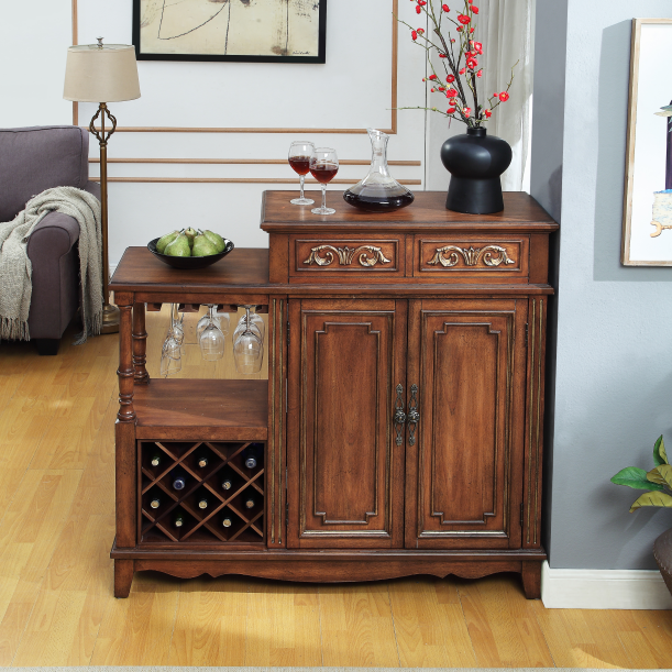 Double-sided wine cabinet with two doors and two drawers