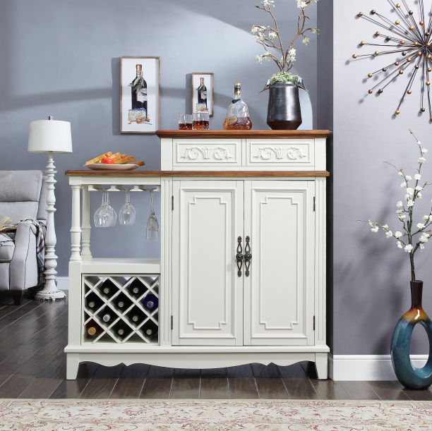 Double-sided white wine cabinet with two doors and two drawers