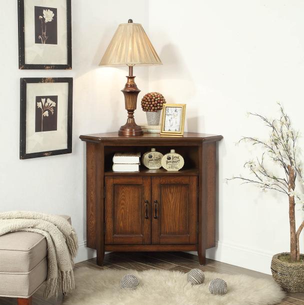Dark coffee color corner cabinet