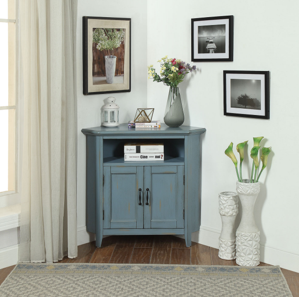 Grey blue color corner cabinet