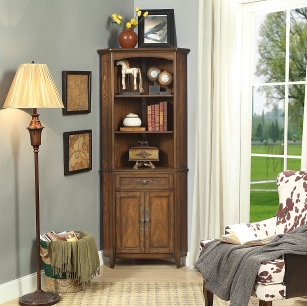 Dark coffee color high corner cabinet