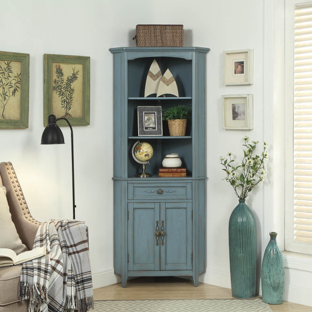 Grey blue color high corner cabinet