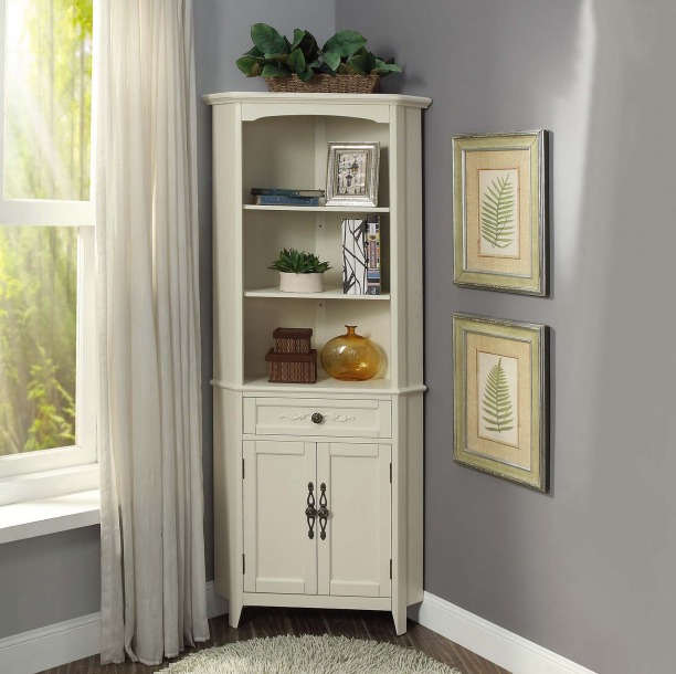 Ivory color high corner cabinet