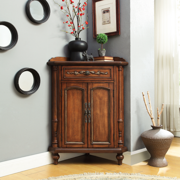Classic red coffee color corner cabinet