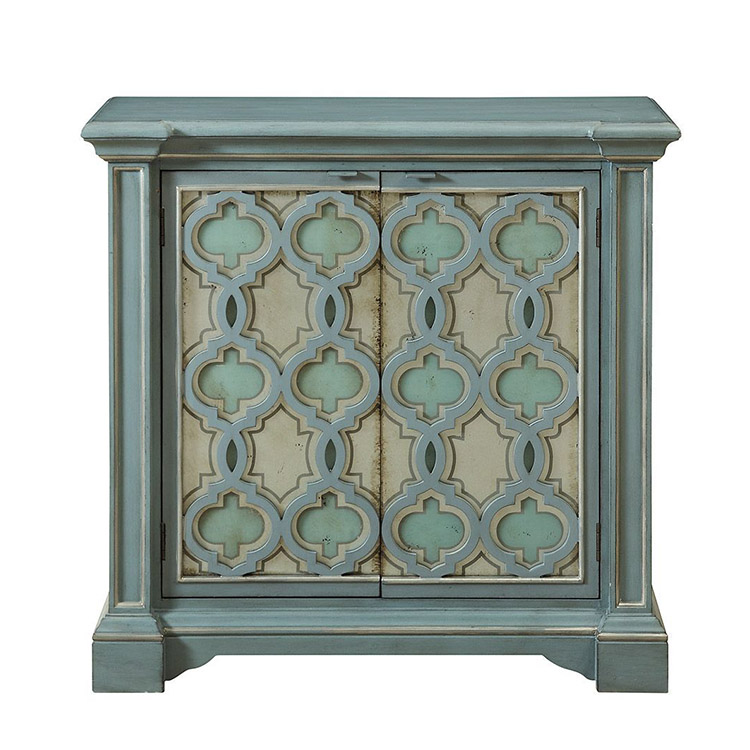 Light green cabinet with two doors
