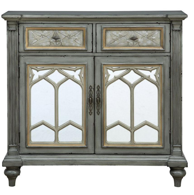 Antique grey cabinet with two doors and two drawers