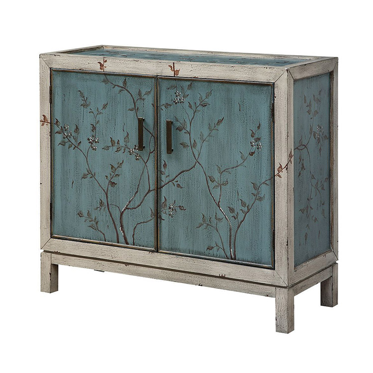 Antique blue cabinet with two doors