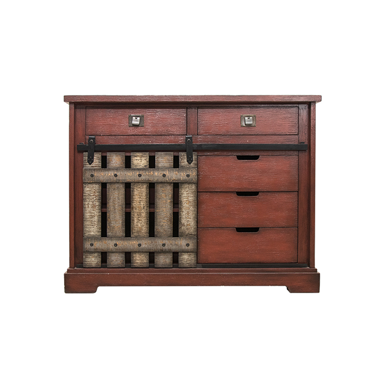 Antique cabinet with one door and five drawers