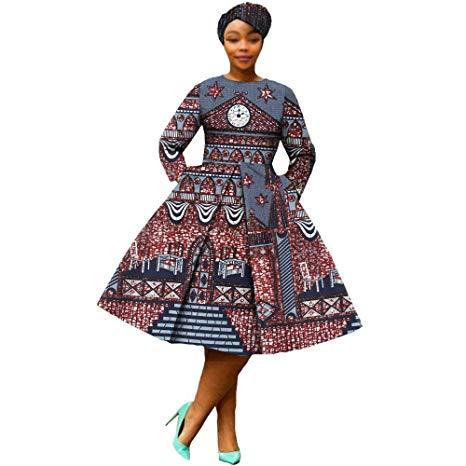 African Dresses for Women Party wear Flower Floral Fashion Culture Vintage+Headwrap 35×45 inch Beige