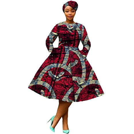 African Dresses for Women Party wear Flower Floral Fashion Culture Vintage+Headwrap 35×45 inch Beige- buying leads