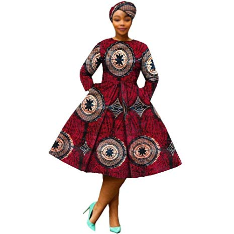 African Dresses for Women Party wear Flower Floral Fashion Culture Vintage+Headwrap 35×45 inch Beige  - buying leads