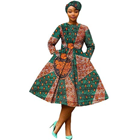 African Dresses for Women Party wear Flower Floral Fashion Culture Vintage+Headwrap 35×45 inch Beige