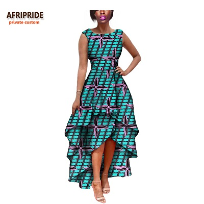 2019 hot sale african dress for women AFRIPRIDE private custom sleeveless pleated party dress 100% pure wax cotton A722582