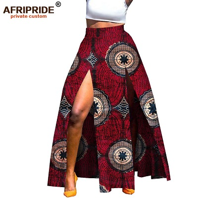 2019 african print summer skirt for women AFRIPRIDE tailor made ankara print ankle length split women wax cotton skirt A1827002- buying leads