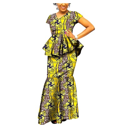 African Dresses for Women 2 Piece top+Skirt Plus Size Party Handmade wear for Formal Church 100% Cotton