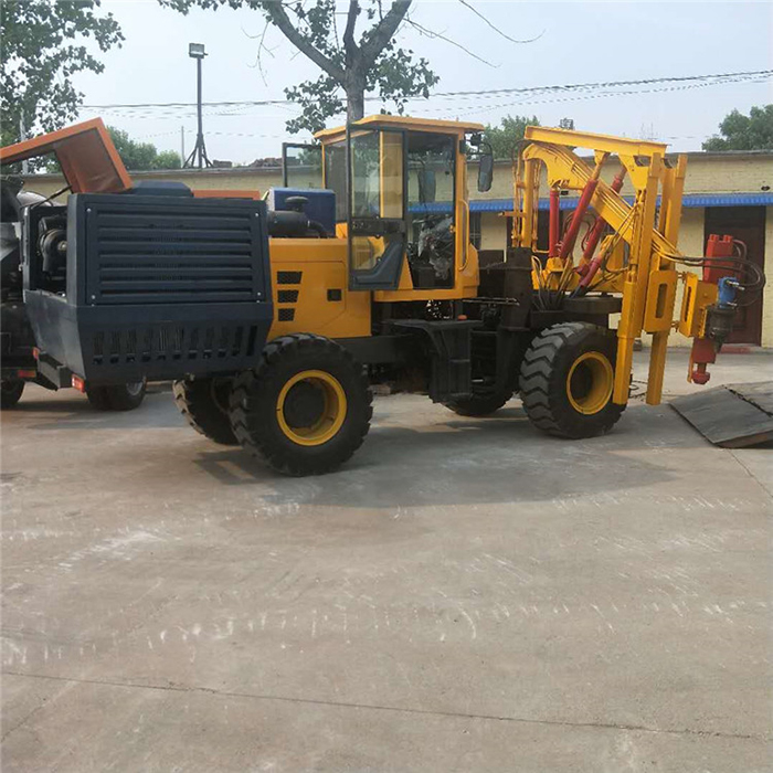 Forklift type pile driver for guard rail on highway (8-10 Air compressor)