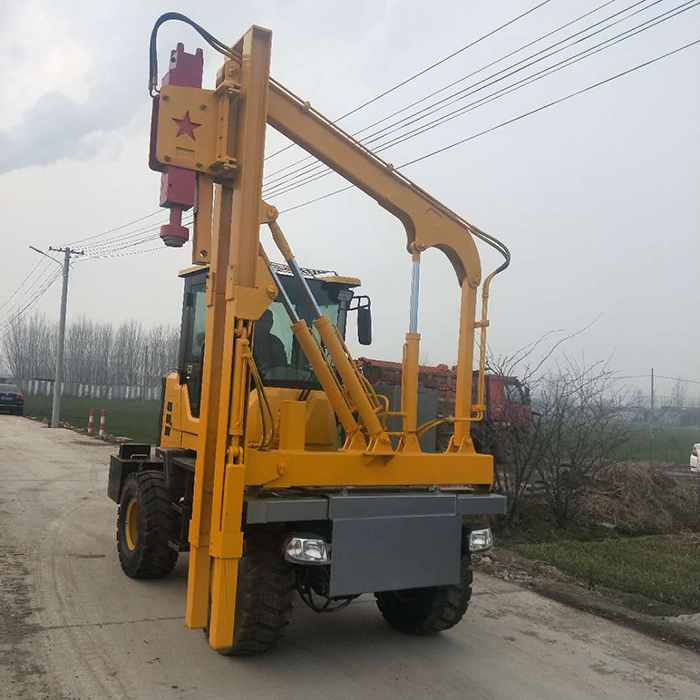 Forklift type pile driver for guard rail